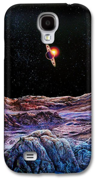 Cosmic Space Paintings Galaxy S4 Cases - Saturn from Iapetus Galaxy S4 Case by Don Dixon