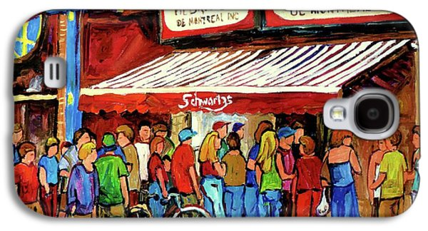 Montreal Street Life Paintings Galaxy S4 Cases - Schwartzs Deli Lineup Galaxy S4 Case by Carole Spandau