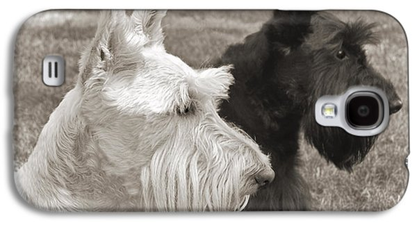 Scottish Dog Galaxy S4 Cases - Scottish Terrier Dogs in Sepia Galaxy S4 Case by Jennie Marie Schell
