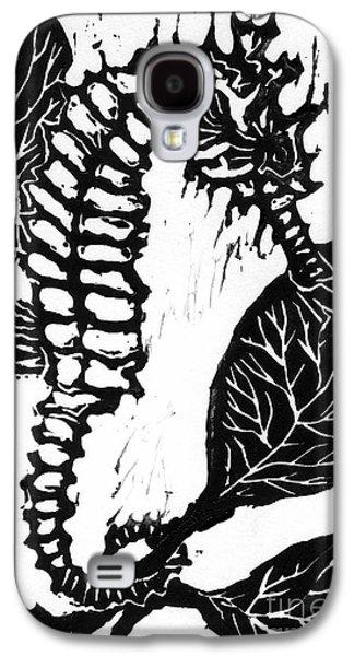 Lino Mixed Media Galaxy S4 Cases - Seahorse block print Galaxy S4 Case by Ellen Miffitt