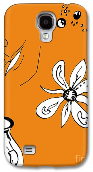 Indian Ink Mixed Media Galaxy S4 Cases - Serenity in Orange Galaxy S4 Case by Mary Mikawoz