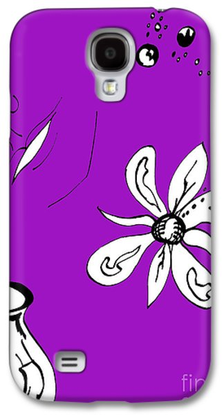 Indian Ink Mixed Media Galaxy S4 Cases - Serenity in Purple Galaxy S4 Case by Mary Mikawoz