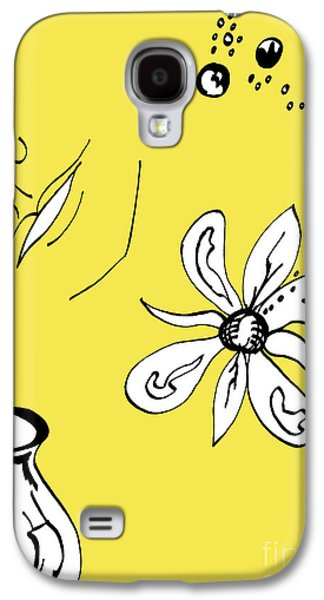 Indian Ink Mixed Media Galaxy S4 Cases - Serenity in Yellow Galaxy S4 Case by Mary Mikawoz
