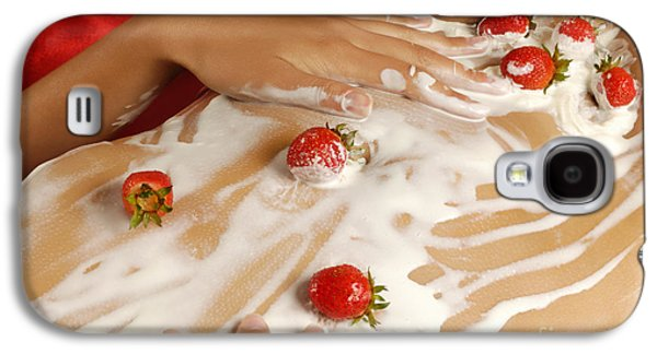 Woman Photographs Galaxy S4 Cases - Sexy Nude Woman Body Covered with Cream and Strawberries Galaxy S4 Case by Oleksiy Maksymenko