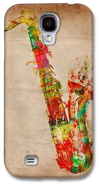 Sound Digital Art Galaxy S4 Cases - Sexy Saxaphone Galaxy S4 Case by Nikki Marie Smith