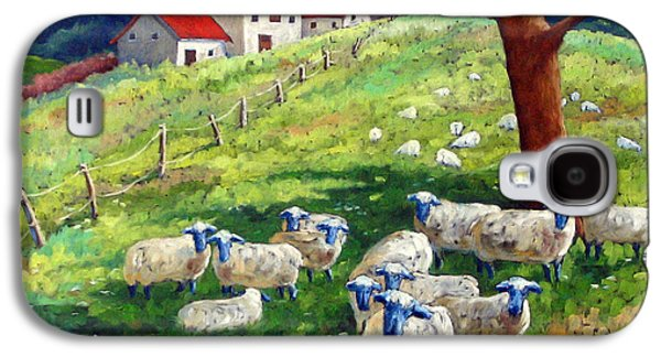 Canadiens Paintings Galaxy S4 Cases - Sheeps in a field Galaxy S4 Case by Richard T Pranke
