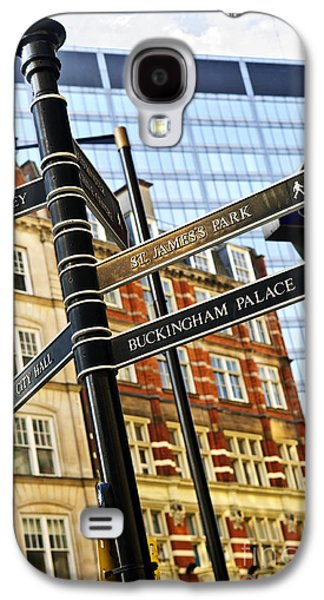 Information Photographs Galaxy S4 Cases - Signpost in London Galaxy S4 Case by Elena Elisseeva