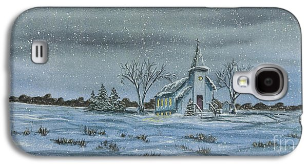 New England Snow Scene Paintings Galaxy S4 Cases - Silent Night Galaxy S4 Case by Charlotte Blanchard
