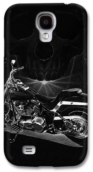 Black And White Art Galaxy S4 Cases - Skull Harley Galaxy S4 Case by Tim Dangaran