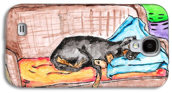 Lounge Drawings Galaxy S4 Cases - Sleeping Rottweiler Dog Galaxy S4 Case by Jera Sky
