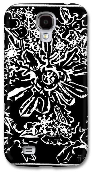 Linocut Drawings Galaxy S4 Cases - Snow Flakes Galaxy S4 Case by Dariusz Gudowicz