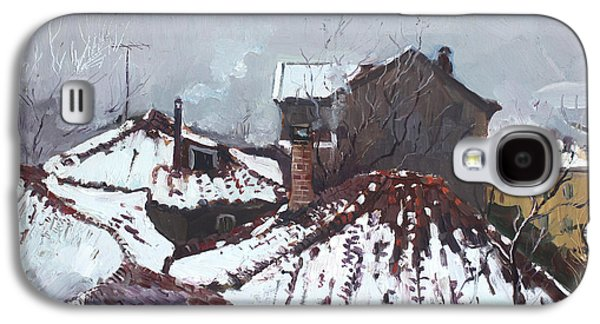 Snow Paintings Galaxy S4 Cases - Snow in Elbasan Galaxy S4 Case by Ylli Haruni