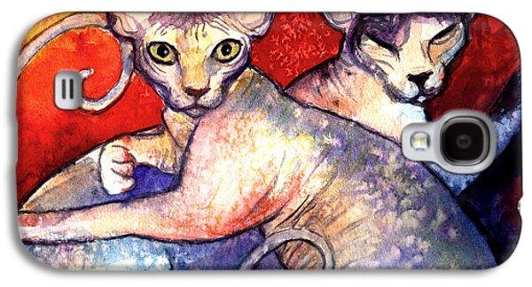 Watercolor Drawings Galaxy S4 Cases - Sphynx cats sphinx family painting  Galaxy S4 Case by Svetlana Novikova