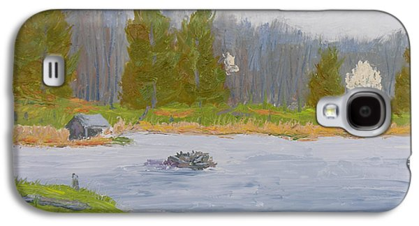 Nature Center Pond Paintings Galaxy S4 Cases - Spring Blossoms Beaver Pond Galaxy S4 Case by Robert P Hedden