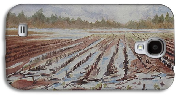 Farm Fields Paintings Galaxy S4 Cases - Spring Flood Galaxy S4 Case by Jenny Armitage