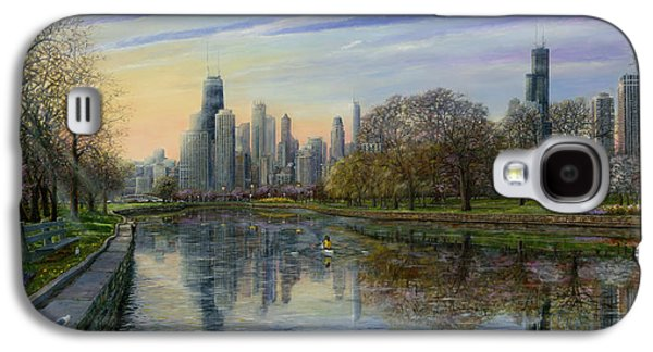 Park Scene Paintings Galaxy S4 Cases - Spring Serenity  Galaxy S4 Case by Doug Kreuger