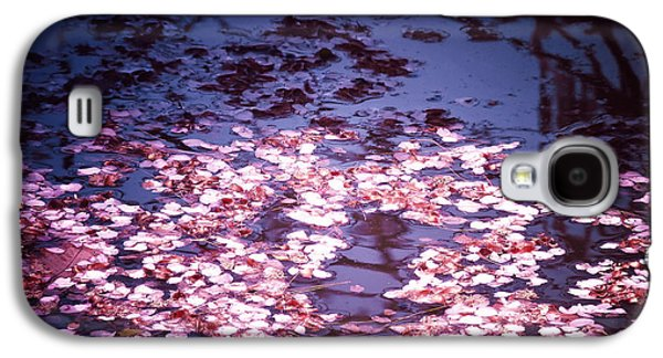 Cherry Blossoms Photographs Galaxy S4 Cases - Springs Embers - Cherry Blossom Petals on the Surface of a Pond Galaxy S4 Case by Vivienne Gucwa