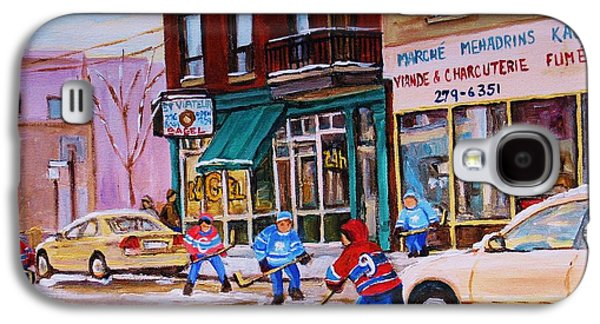 Montreal Street Life Paintings Galaxy S4 Cases - St. Viateur Bagel with boys playing hockey Galaxy S4 Case by Carole Spandau