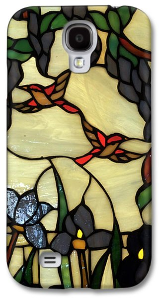 Portraits Glass Art Galaxy S4 Cases - Stained Glass Humming Bird Vertical Window Galaxy S4 Case by Thomas Woolworth