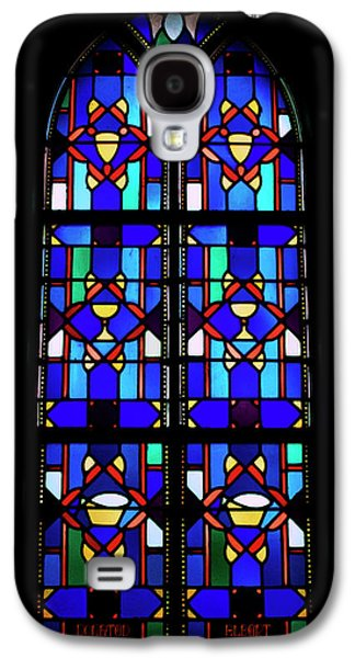 Portraits Glass Art Galaxy S4 Cases - Stained Glass Window Blue Galaxy S4 Case by Thomas Woolworth
