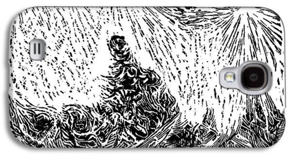 Linocut Drawings Galaxy S4 Cases - Starry Night Galaxy S4 Case by Dariusz Gudowicz