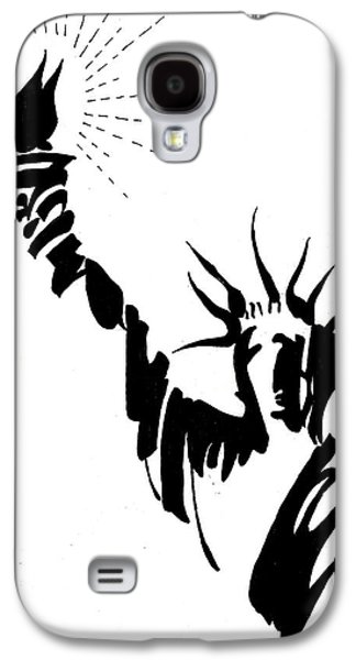 Statue Portrait Drawings Galaxy S4 Cases - Statue Of Liberty Galaxy S4 Case by Farah Faizal