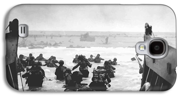 Americans Digital Art Galaxy S4 Cases - Storming The Beach On D-Day  Galaxy S4 Case by War Is Hell Store
