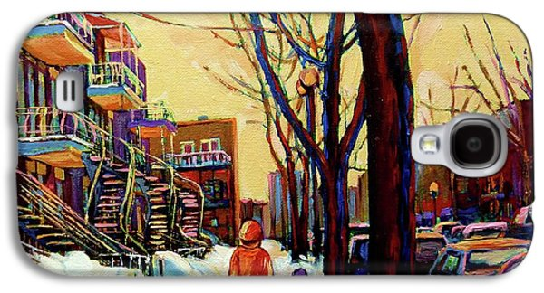 Afterschool Hockey Paintings Galaxy S4 Cases - Streets Of Montreal Rue Debullion  Winter In The Plateau Galaxy S4 Case by Carole Spandau