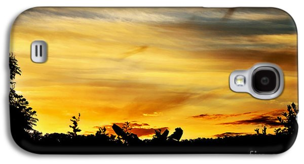 Colorful Cloud Formations Galaxy S4 Cases - Stripey Sunset Silhouette Galaxy S4 Case by Kaye Menner