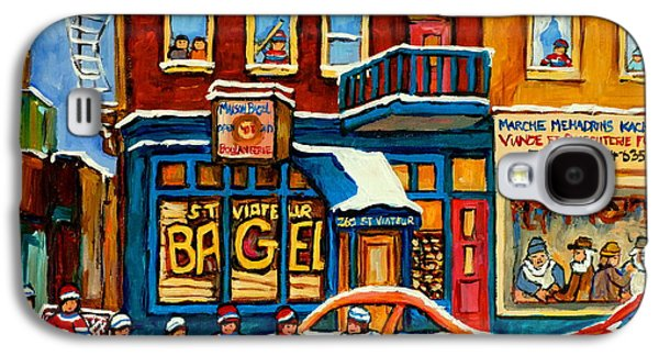 Montreal Street Life Paintings Galaxy S4 Cases - St.viateur Bagel Hockey Montreal Galaxy S4 Case by Carole Spandau