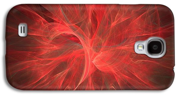 Shades Of Red Galaxy S4 Cases - Subtle Aura-Fractal Art Galaxy S4 Case by Lourry Legarde