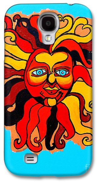 Cosmic Space Paintings Galaxy S4 Cases - Sun God II Galaxy S4 Case by Genevieve Esson
