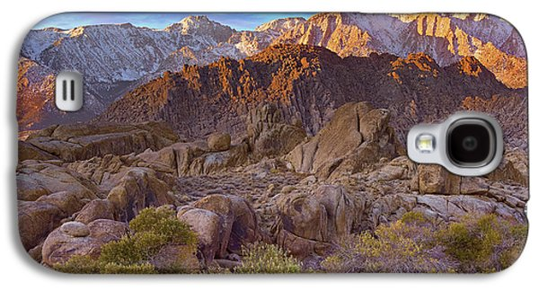 Mountain Photographs Galaxy S4 Cases - Sun Illuminating The Alabama Hills Galaxy S4 Case by Tim Fitzharris