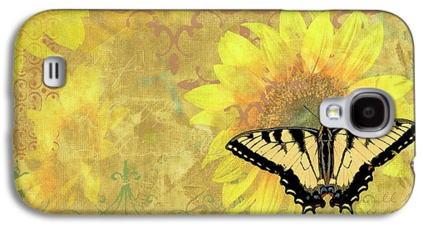 Butterflies Galaxy S4 Cases - Sunflower Butterfly Yellow Gold Galaxy S4 Case by JQ Licensing