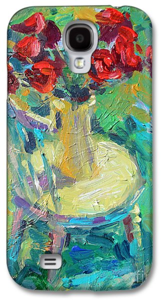 Textured Drawings Galaxy S4 Cases - Sunny Impressionistic rose flowers still life painting Galaxy S4 Case by Svetlana Novikova