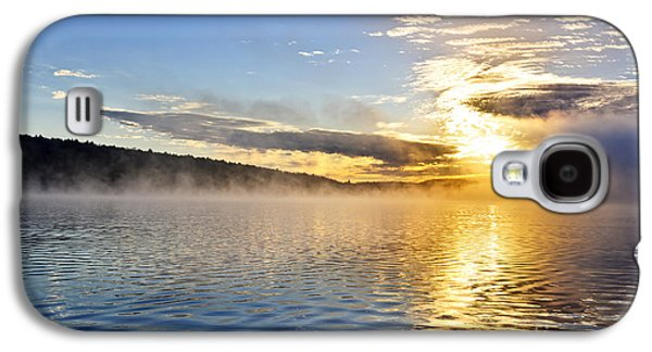 Sunrise Galaxy S4 Cases - Sunrise on foggy lake Galaxy S4 Case by Elena Elisseeva