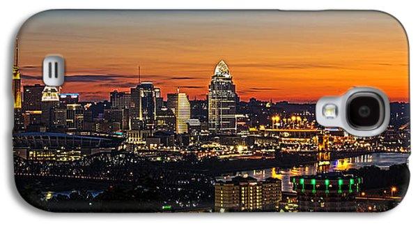 Glowing Galaxy S4 Cases - Sunrise over Cincinnati Galaxy S4 Case by Keith Allen