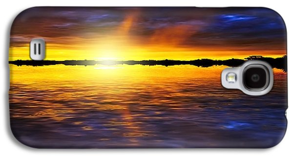 Sunset Abstract Mixed Media Galaxy S4 Cases - Sunset by the River Galaxy S4 Case by Svetlana Sewell