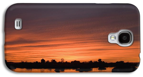 Boats In Reflecting Water Galaxy S4 Cases - Sunset Over River Galaxy S4 Case by Axiom Photographic