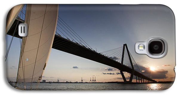 Sailboats In Harbor Galaxy S4 Cases - Sunset Over the Cooper River Bridge Charleston SC Galaxy S4 Case by Dustin K Ryan