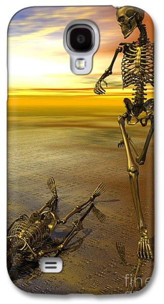 Surreal Skeleton Jogging Past Prone Skeleton With Sunset Galaxy S4 Case by Nicholas Burningham