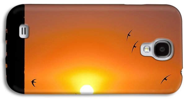 Hirundo Galaxy S4 Cases - Swallows Flying At Sunset Galaxy S4 Case by Laurent Laveder