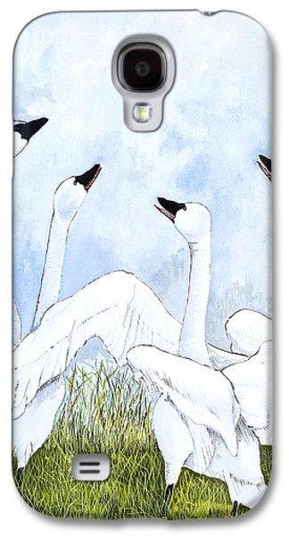 Swans... Paintings Galaxy S4 Cases - Swan Dance Galaxy S4 Case by Virginia McLaren