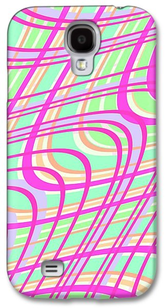 Swirly Galaxy S4 Cases - Swirly Check Galaxy S4 Case by Louisa Knight