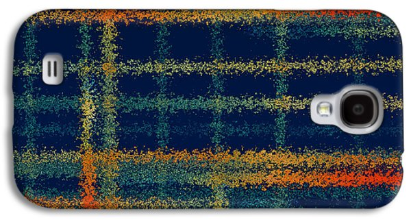 Colorful Abstract Digital Galaxy S4 Cases - Tangerine Plaid Galaxy S4 Case by Bonnie Bruno