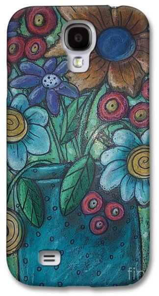 Abstracted Pastels Galaxy S4 Cases - Teal Pot Galaxy S4 Case by Karla Gerard