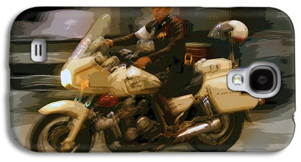 Police Traffic Control Galaxy S4 Cases - Thai Motorbike Police Galaxy S4 Case by Kantilal Patel