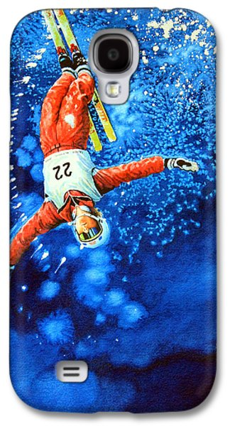 Skiing Posters Paintings Galaxy S4 Cases - The Aerial Skier 20 Galaxy S4 Case by Hanne Lore Koehler