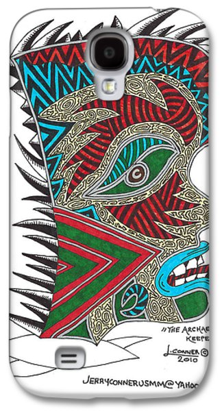 Abstract Seascape Drawings Galaxy S4 Cases - The Archaeological Keeper Of Secrets Galaxy S4 Case by Jerry Conner