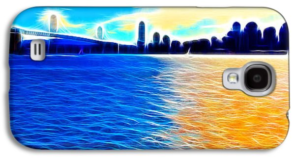 Downtown San Francisco Galaxy S4 Cases - The Bay Bridge and The San Francisco Skyline . Panorama Galaxy S4 Case by Wingsdomain Art and Photography